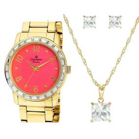 Relógio Champion Feminino Dourado - Ch24437j +colar E Brinco