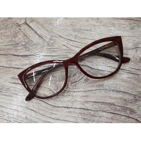 Óculos Vermelho Armação Fina Gatinho Promoção Barato Ótica d70ac1d7dd