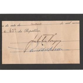 Fragmento De Documento Assinado Por Geúlio Vargas Mbc 1954