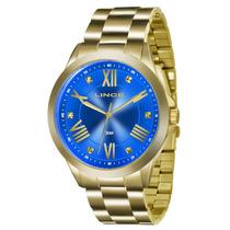 Relógio Lince Feminino Dourado Lrgj046l A3kx Original + Nf
