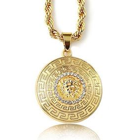 Halukakah Medusa Hombres 18k Sello Real Oro Plateado 3d Co