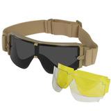 Óculos X800 Tan Airsoft X-800 Militar Com 3 Lentes + Case d9f3def5f2
