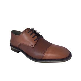 Zapato De Punta Acordonado De Cuero Di Nizo 853/1 Marron