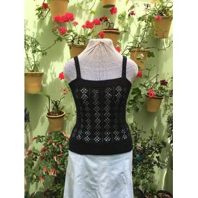Musculosa Artesanal Chaleco Mujer Hilo Crochet Lentejuelas