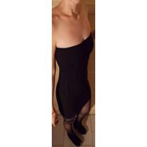 Vestido Tubo Mini Strapless Pollera Negro Ay Not Dead Tallem