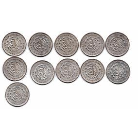 Serie 11 Monedas De 1 Un Peso Del 1957 Al 67 Plata .100 C18