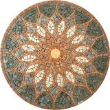 Piso Rosone Mandala Em Mosaico De Mármores E Granitos 80cm