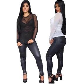 Blusa Camisa Tule Transparente + Cropped Top Renda Instagram