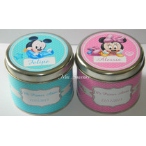 Latas Personalizadas De Mickey Y Minnie Bebes- Pack X 10unid