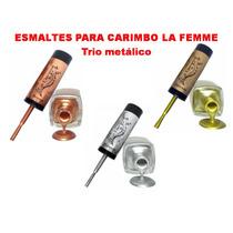 Trio De Esmalte Para Carimbo La Femme Prata + Ouro + Bronze