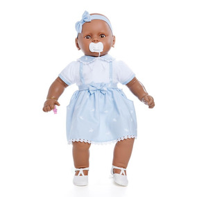 Boneca Meu Bebê Negro Estrela - Vestido Azul