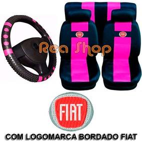 Uno 94 A 2001 Jogo Capa Banco Carro Fiat + Capa Volante Rosa