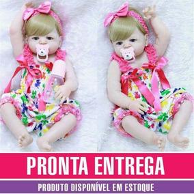 Bebê Reborn Loira Olhos Azuis Menina Pronta Entrega Brindes