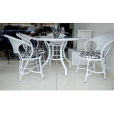 Conjunto Mesa E Cadeiras Fibra Sintética Varanda Jardim
