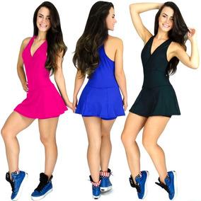Macaquinho Vestido Fitness Short Saia Liso Suplex Academia