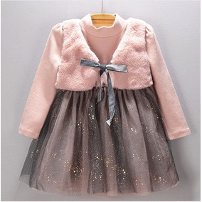 Vestido Infantil Festa Princesa Com Casaco Inverno Saia Tule