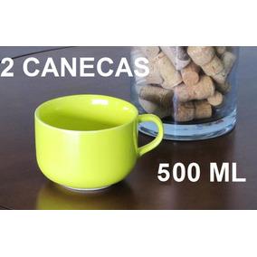 Kit 2 Caneca Jumbo 500 Ml Porcelana Amarela Xícara Sopa