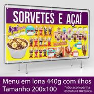 Lona Com Ilhos - 200x100cm - Sorvetes, Milk Shakes E Açaí