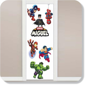 Adesivo Porta Super Herois Baby + Nome Personalizado