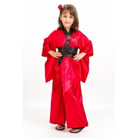 Kimono Longo Fantasia Infantil Menina Pucca