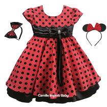 Vestido Festa Infantil Minnie Vermelha Joaninha E Tiara