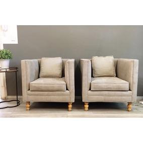 Sillón Individual Mueble Madera Diseño Sala Tapizado