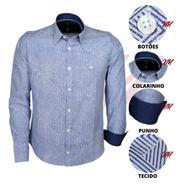 Camisa Social Masculina Misto Peletizado Geométrico 20078