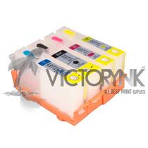 Cartucho Recargable Hp 564-364-178 Con Chip + 4 Tintas Hp Hd