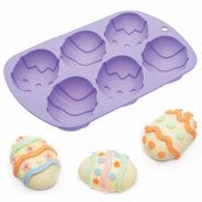 Molde De Silicona Huevos De Pascua Diseños X6 / Lauacu