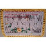 Kit Cozinha De Crochê 1 Passadeira E2 Tapetes Flores Barroca