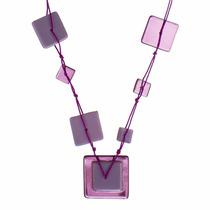 Collar Largo De Vidrio Y Aretes Exclusivo Diseño