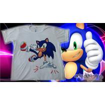 Remera Sonic Pintada A Mano!! Talles 2 Al 16