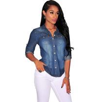 Camisa Blusa Jeans Feminina Manga Longa Preço Atacado
