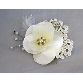 Tocado Novia Ivory Chico Vintage Flor De Tela Cristal 1