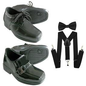 Sapato+ Suspensório Infantil+ Gravata Borboleta 3 Em 1