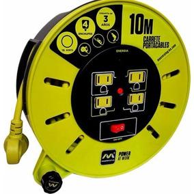 Extension Electrica Retractil Carrete 10mts 4 Cont Uso Rudo