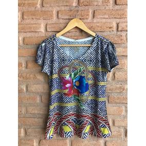 Blusa Básica Feminina De Malha Estampa Floral Exclusiva 102
