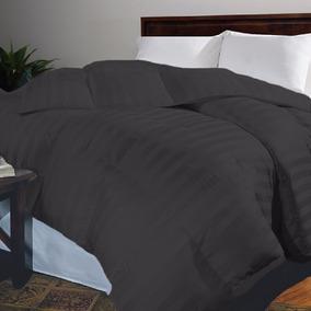 Plumón Doble Sateen Stripe Color Negro Karytex
