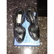 Sandalias Negras Cuero 36, Viento Y Marea 1 Uso, Como Nuevas