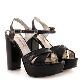 Sandalias De Charol Y Glitter Negro Batistella
