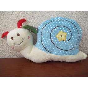 Caracol De Pelúcia Branco Com Casco Azul Claro