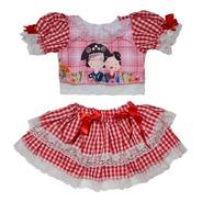 Vestido Conjunto Caipira Infantil E Baby Festa Junina
