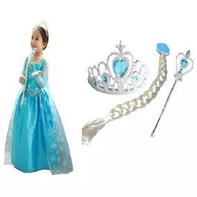 Vestido Fantasia Frozen Infantil Elsa + Acessórios