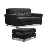 Combo Sillon Sofa Retro Vintage 2 Cuerpos + Butacon 60x60