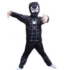 Disfraz Halloween Spider Man Hombre Araña Negro 6 - 8 Años