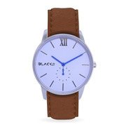 Reloj Black21 Poker White Tan - Malla De Cuero Marron