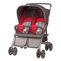 Carrinho De Bebê Gêmeos Grafite/vermelho 5 Posições Até 36kg