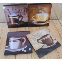 Cuadros Decorativos Vintage Café (4 Pz) Vinilo