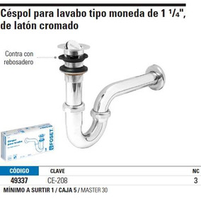 Cespol De Latón Cromado Para Lavabo Tipo Moneda Cl 49337
