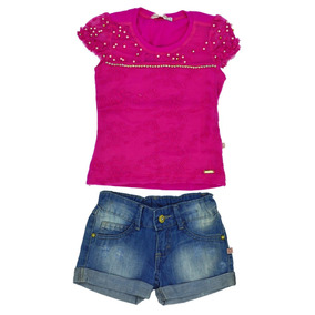 1305 Cj Bl Short Jeans Monet Planet Kids Pink